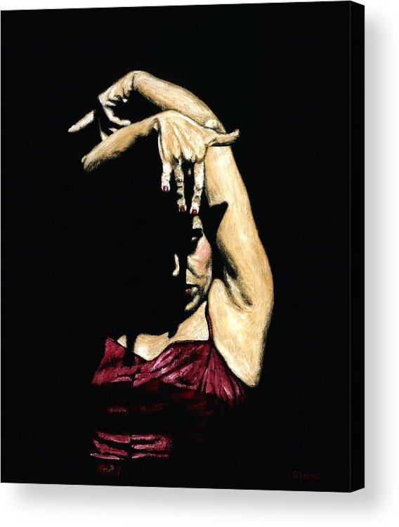 Flamenco Acrylic Print featuring the painting Seclusion Del Flamenco by Richard Young