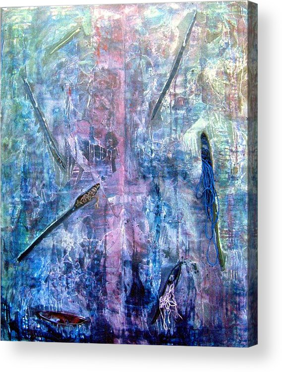 Abstract Acrylic Print featuring the painting Seven Zippers by Nancy Mueller