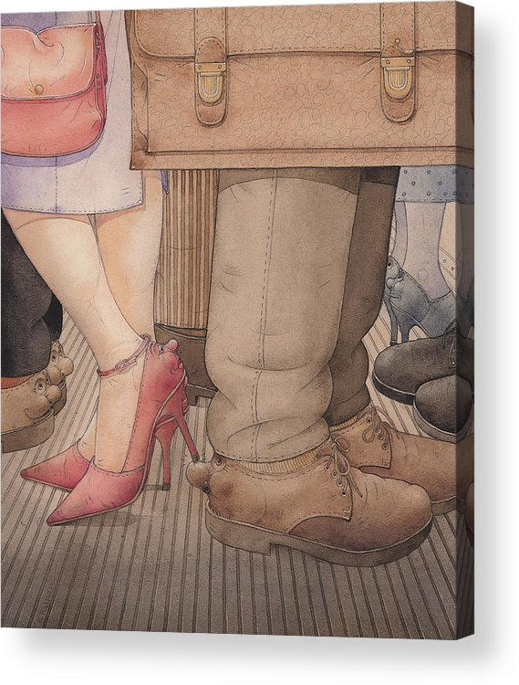 Shoes Flirt Metro Love Amour Acrylic Print featuring the painting Shoes by Kestutis Kasparavicius