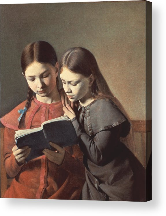 The Acrylic Print featuring the painting Sisters Reading A Book by Carl Hansen