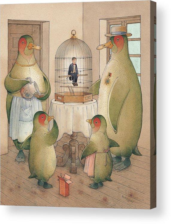 Birds Opera Acrylic Print featuring the painting Songman by Kestutis Kasparavicius