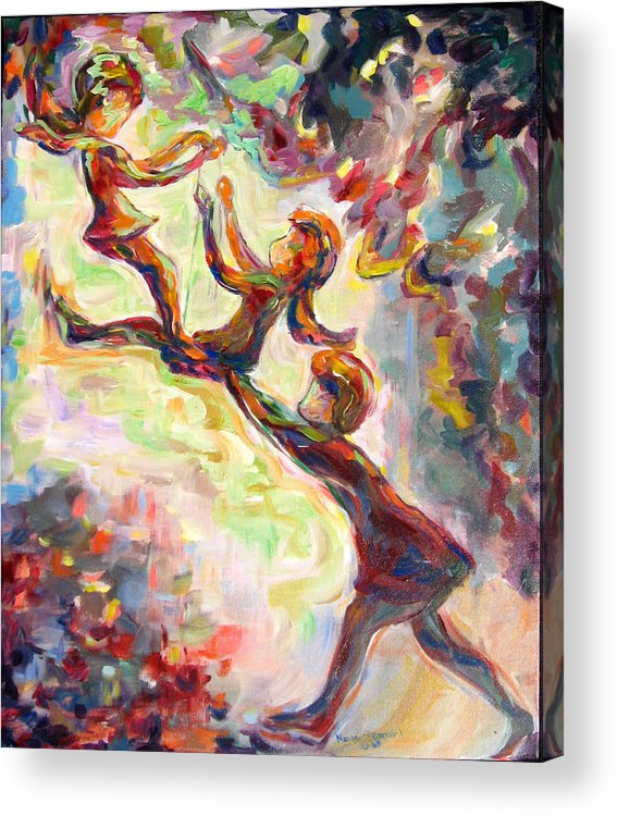 Children Swinging Acrylic Print featuring the painting Swinging High by Naomi Gerrard