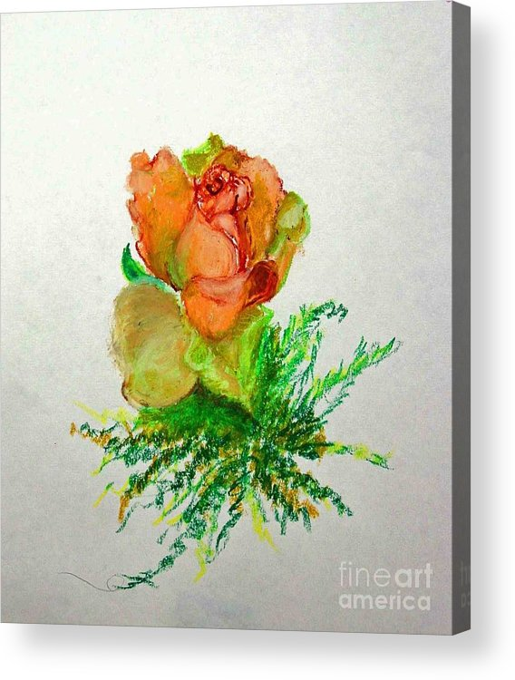 Greeting Card Acrylic Print featuring the painting Tea Rose            Copyrighted by Kathleen Hoekstra