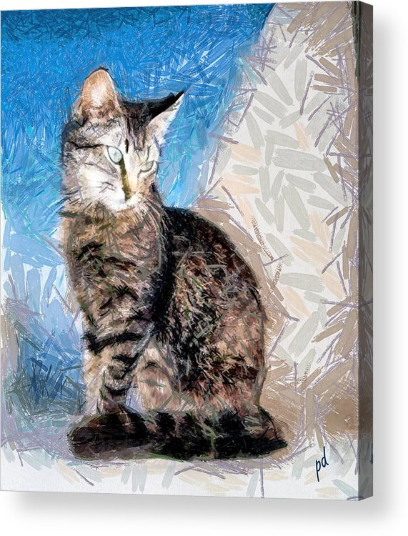 Cats Acrylic Print featuring the painting Teris From Tinos by Patty Dunlap
