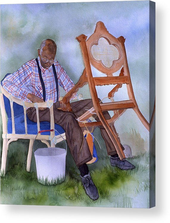 Portrait Acrylic Print featuring the painting The Art Of Caning by Jean Blackmer