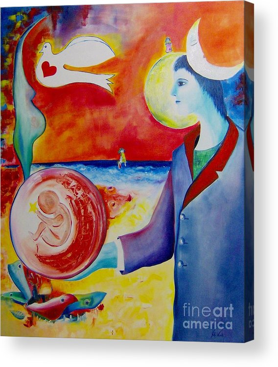 Surreal Acrylic Print featuring the painting The Awakening Of Humanity by Nela Vicente