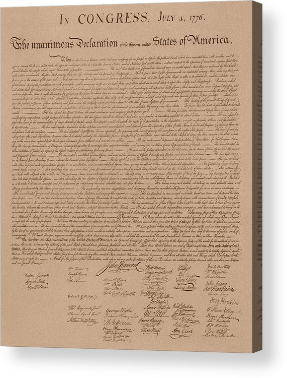 Declaration Of Independence Acrylic Print featuring the mixed media The Declaration Of Independence by War Is Hell Store