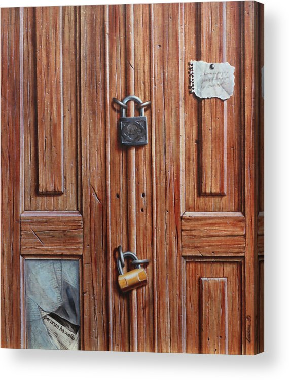 Door Acrylic Print featuring the painting The Message Door by Laine Garrido