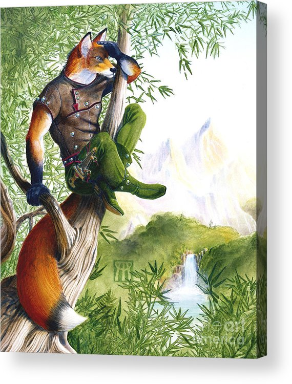Fantasy Acrylic Print featuring the painting Trail Blazing Fox by Melissa A Benson