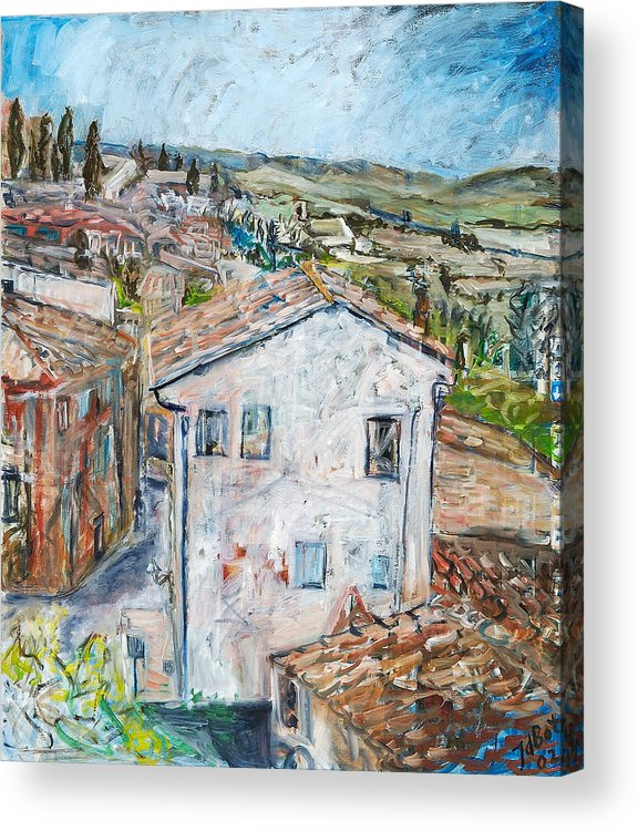 Tuscany Italy White House Landscape Cypresse Hills Roofs Sheds Houses Blue Sky Fields Tiles Acrylic Print featuring the painting Tuscan House by Joan De Bot