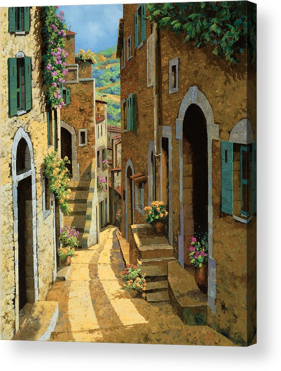 Village Acrylic Print featuring the painting Un Passaggio Tra Le Case by Guido Borelli