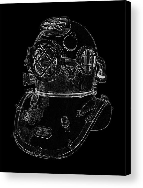 Us Navy Diving Helmet Mark V Acrylic Print by PixBreak Art