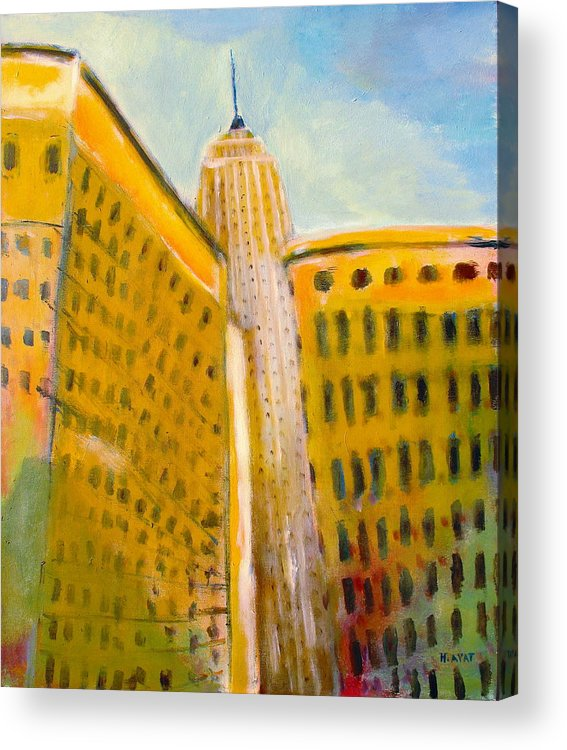 Abstract Cityscape Acrylic Print featuring the painting View From The 33 St by Habib Ayat