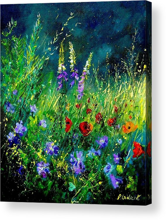 Poppies Acrylic Print featuring the painting Wild Flowers by Pol Ledent