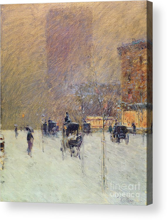Winter Afternoon In New York Acrylic Print featuring the painting Winter Afternoon In New York by Childe Hassam