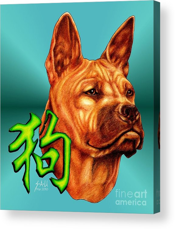 Canine Acrylic Print featuring the drawing Year Of The Dog by Sheryl Unwin
