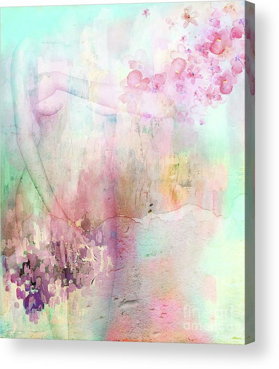Pastel Acrylic Print featuring the mixed media Shy by Jacky Gerritsen