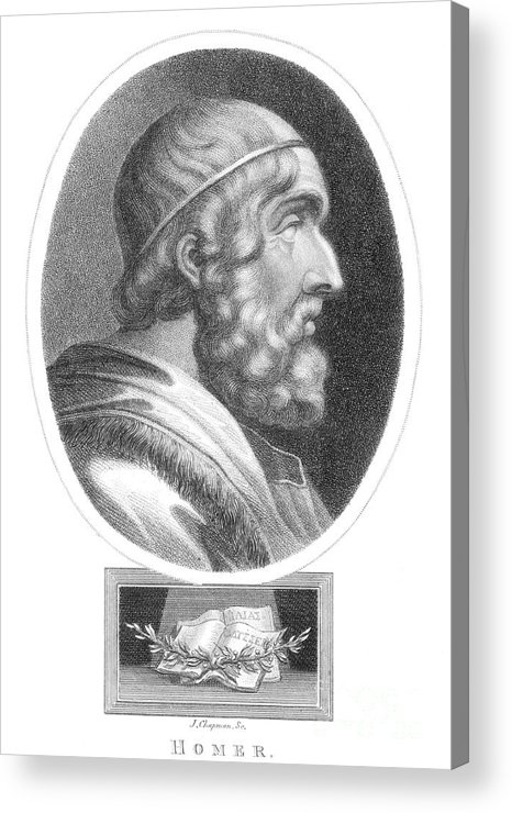 Literature Acrylic Print featuring the photograph Homer, Ancient Greek Epic Poet by Photo Researchers