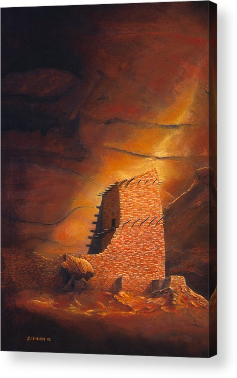 Mummy Cave Ruins Acrylic Print featuring the painting Mummy Cave Ruins by Jerry McElroy