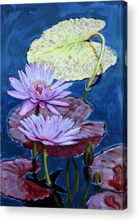 Water Lilies Acrylic Print featuring the painting Two Purple Lilies by John Lautermilch
