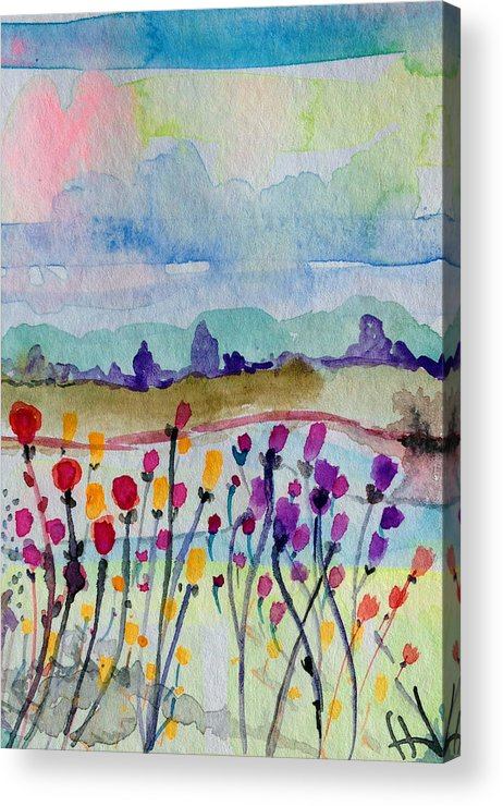 Landscape Acrylic Print featuring the painting Melancholy Flowers For Yarnell by Patricia Lazaro