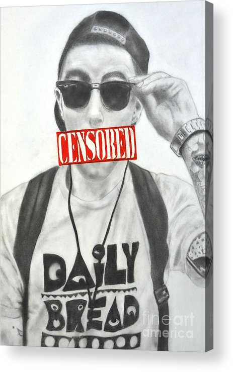 Mac Acrylic Print featuring the drawing Mac Miller by Michael Durocher