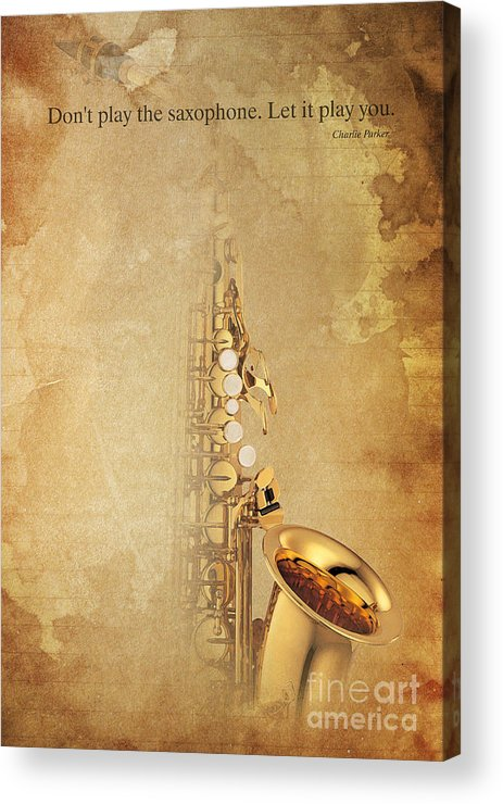Charlie Parker Acrylic Print featuring the digital art Charlie Parker Quote - Sax by Drawspots Illustrations