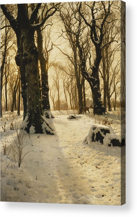 1910s Acrylic Print featuring the painting A Wooded Winter Landscape With Deer by Peder Monsted