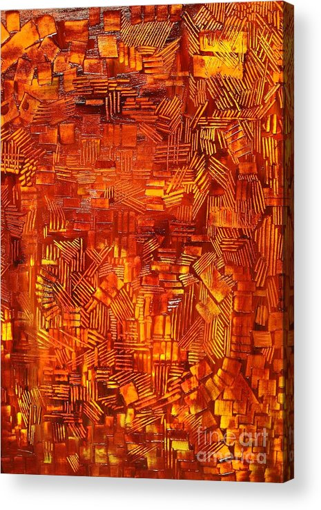 Autumn Acrylic Print featuring the painting An Autumn Abstraction by Michael Kulick
