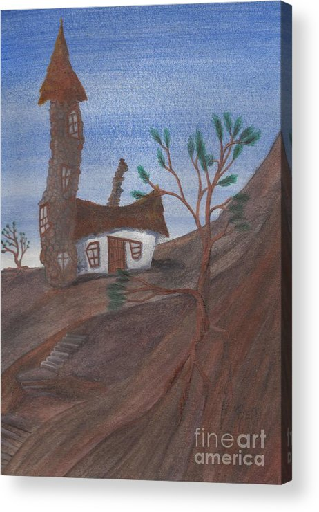 Tower Acrylic Print featuring the painting An Odd Folly by Robert Meszaros