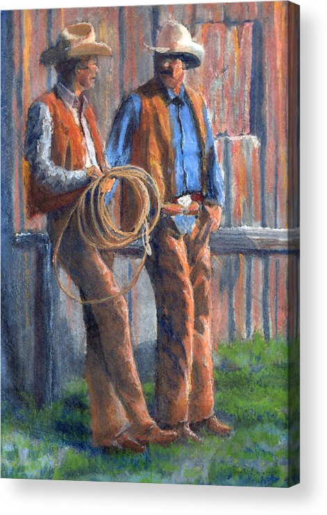 Cowboy Acrylic Print featuring the painting Back At The Ranch by Jerry McElroy