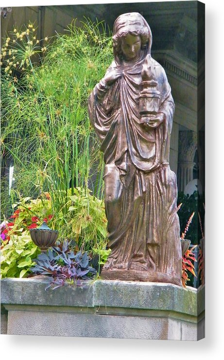 Statue Acrylic Print featuring the photograph Beiger Mansion Statue by Rory Cubel