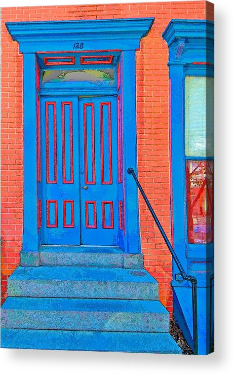 Blue Acrylic Print featuring the photograph Blue Door On Red Brick by Terry DeHart