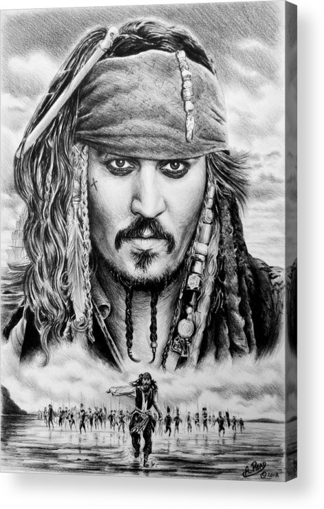 Andrew Read Acrylic Print featuring the drawing Captain Jack Sparrow 2 by Andrew Read