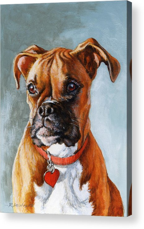 Boxer Acrylic Print featuring the painting Cheyenne by Richard De Wolfe