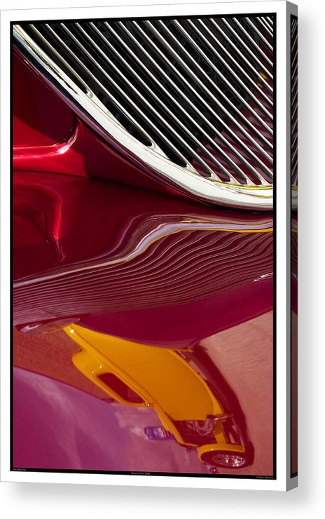 Abstract Acrylic Print featuring the photograph Classic Car Red - 09.19.09_354 by Paul Hasara