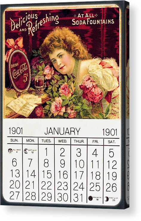 Coca-cola Acrylic Print featuring the photograph Coca - Cola Vintage Calendar by Gianfranco Weiss