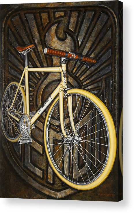Bicycle Acrylic Print featuring the painting Demon Path Racer Bicycle by Mark Jones