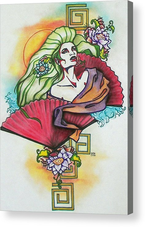 Red Fans Acrylic Print featuring the mixed media Girl With Fans by Christine Maeda