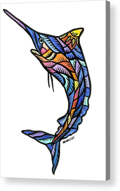 Acrylic Print featuring the painting Guam Marlin 2009 by Marconi Calindas
