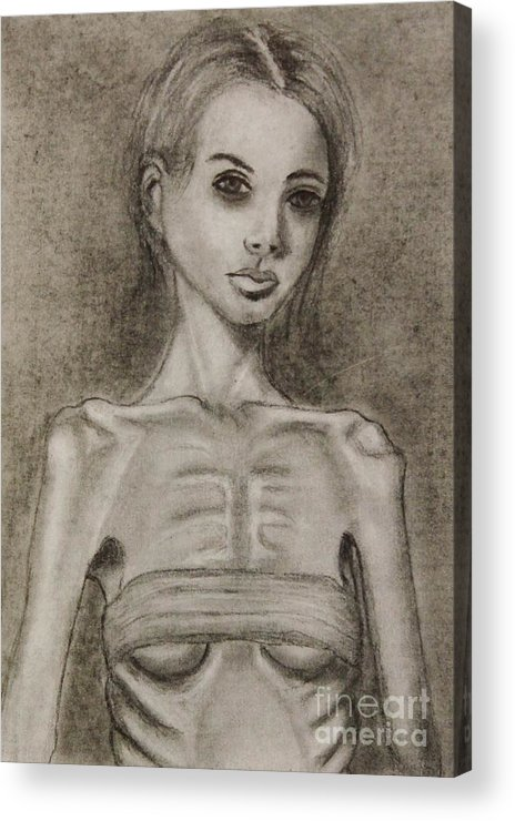 Anorexia Acrylic Print featuring the drawing Haunted by Michael Cross