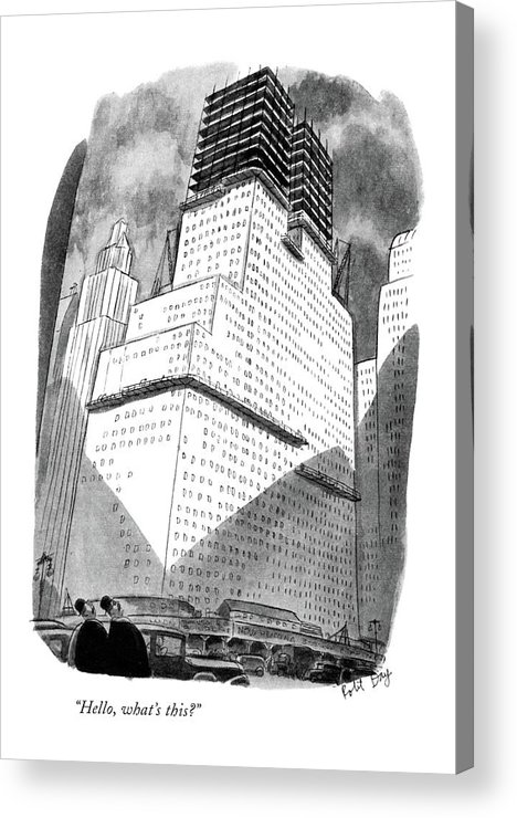 104520 Rda Robert J. Day (foreigners Looking At Skyscraper.) Amazed Amazement Astounded Awe Bewildered Building Buildings City Dumbfounded Foreigners Looking Manhattan Neighborhoods New Nyc Regional Shock Shocked Skyscraper Skyscrapers Speechless Surprised Tourist Tourists Urban York Acrylic Print featuring the drawing Hello, What's This? by Robert J. Day