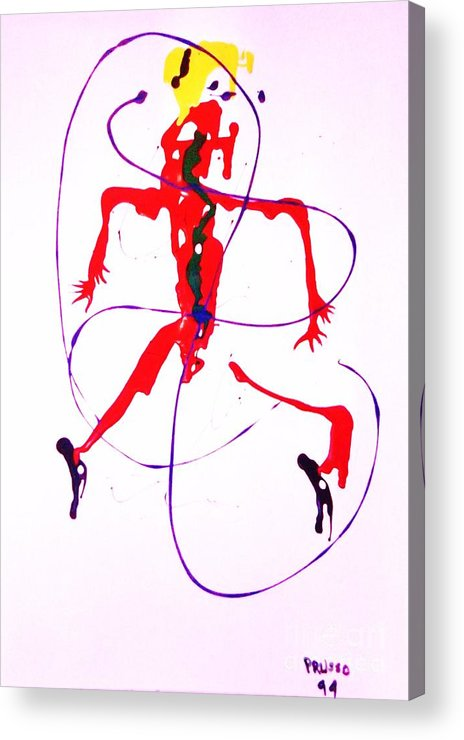 Semi-abstract Acrylic Print featuring the painting Lady In Red 2 by Roberto Prusso