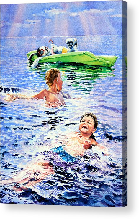 Boys Swimming Painting Acrylic Print featuring the painting Lazy Hazy Crazy Days by Hanne Lore Koehler
