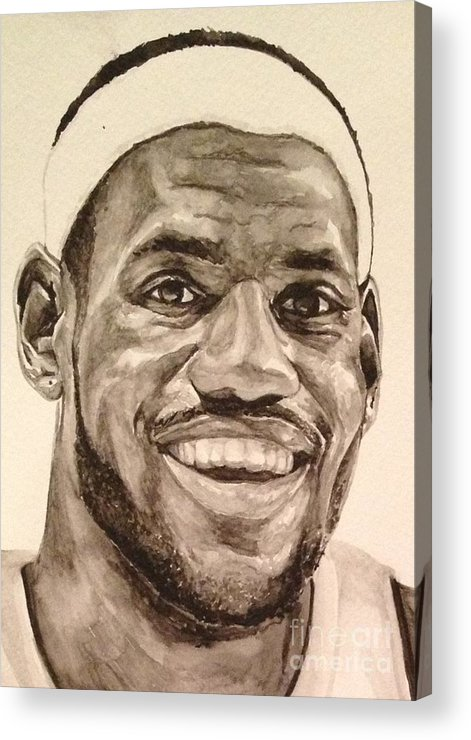 Lebron James Acrylic Print featuring the painting Lebron James by Tamir Barkan