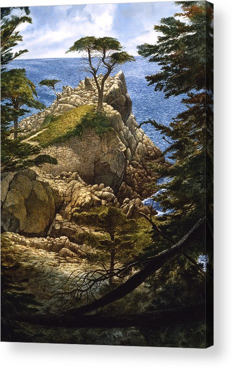 Seascape Acrylic Print featuring the painting Lone Cypress by Tom Wooldridge