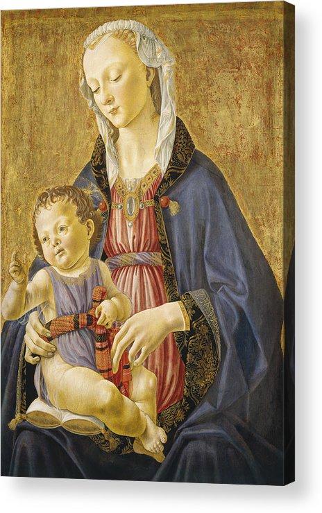 Virgin; Mary; Jesus; Christ; Gold; Renaissance Acrylic Print featuring the painting Madonna And Child by Domenico Bigordi Domenico Ghirlandaio