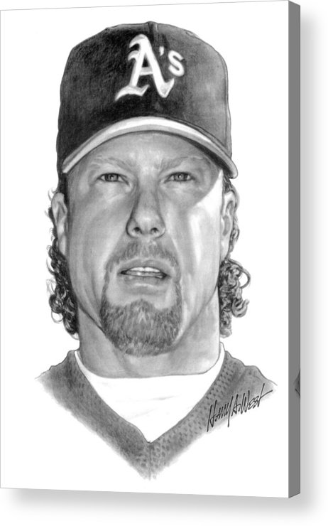 Mark Mcgwire Acrylic Print featuring the drawing Mark Mcgwire by Harry West