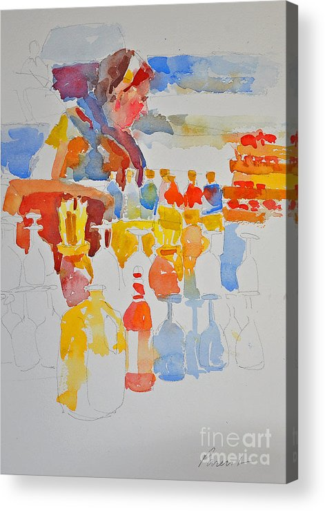 This sketch Is In A Series Of Small Studies Acrylic Print featuring the painting Mercado Lady With Bottles by Roger Parent