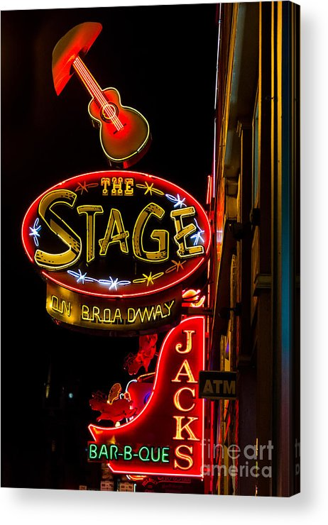 The Stage On Broadway Acrylic Print featuring the photograph Nashville Night Life by Sophie Doell